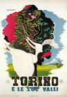 TV08 Vintage 1950's Italian Italy Torino And Valleys Travel Poster Re-Print A4