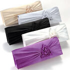 NEW SATIN FLOWER ROSE EVENING PARTY WEDDING CLUTCH BAG HANDBAG