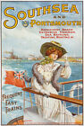 TW68 Vintage Southsea & Portsmouth Classic Travel Poster Re-Print A4
