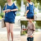 AU SELLER Casual Soft Batwing Sleeve Cut Out Shoulder Top Tee SZ S-L/AU6-12 T090