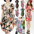 Celeb Style Casual V-Neck Soft Flower Print Dress SZ S-L/AU6-12 dr135