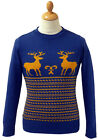 RETRO CHRISTMAS XMAS REINDEER JUMPER Seventies 70s Fair Isle Knit Sweater New