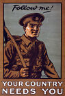W82 Vintage WWI British Your Country Needs You Enlist War Poster WW1 A1 A2 A3