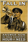 WA76 Vintage WWI Fall In British Army War Recruitment Poster WW1 A1 A2 A3