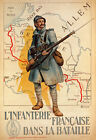 W9 Vintage WWI French Infantry Military War Recruitment Poster WW1 A1 A2 A3