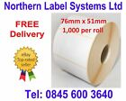 76mm x 51mm WHITE Direct Thermal Labels 1,000 per roll for Zebra type printer