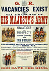WA98 Vintage WW1 Vacancies His Majesty's Army British War WWI Poster Re-Print A4