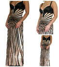 New Womens Ladies Black Evening Party Long Formal Prom Ball Gown Size 8 10 12 14