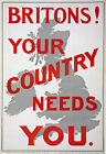 W87 Vintage WWI British Britons Your Country Needs You Enlist War Poster WW1 A4