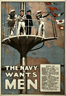 WA1 Vintage WWI British Royal Navy Wants Men War Recruitment Poster WW1 A4