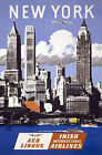 TX114 Vintage New York Irish Airlines Travel Tourism Poster Re-Print A1/A2/A3