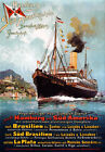 TX156 Vintage Hamburg-South America German Steamship Cruise Travel Poster A4
