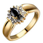 Genuine Oval Dark Sapphire Diamond Accent Gold Plated Women's Fashion Ring
