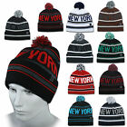 ETHOS BEANIE NEW YORK CITY FLAP + LONG WINTER MÜTZE POMPON BOMMEL CAP NEU