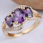 New 3-stone Lab Made Gems Gold Filled Women Fashion Prongs Ring Multi Size