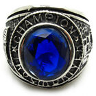 Men's Ring Champion Imitated Sapphire blue gemstone 316L Stainless Steel