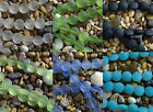 15mm Coin Beach Sea Glass Beads You Pick From 6 Colors! Clear Black Blue Opal