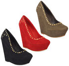 NEW WOMENS LADIES BLACK STUD FAUX SUEDE HIGH PLATFORM WEDGE COURT SHOES SIZE UK