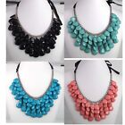 4 Color Ribbon Handmade Beaded Rainbow Acrylic Resin Bib Statement Necklace Gift