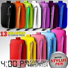LEATHER PULL TAB SKIN CASE COVER POUCH & STYLUS FITS VARIOUS SAMSUNG PHONE