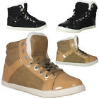 WOMENS LADIES ANKLE FLAT FLEECE HI TOP CASUAL PUMPS LACE UP TRAINERS SHOES 3-8