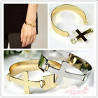 NEW Fashion Gold/Silver Plated Wide Flat Smooth Metal Cross Bracelet Bangle