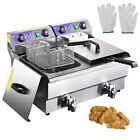 23.4L Commercial Deep Fryer w/ Timer Drain Fast Food French Frys Electric Cooker