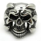 Men's Silver Dragon Claw 316L Stainless Steel Devil Skull Ring Fashion New Gift