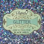 GlateeQ 20g Black Holo Fine Glitter .015 - For Craft, Nail Art or Floristry