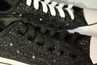 WOMEN'S Converse Chuck Taylor A/S Black Satin Sequin Wedding Prom Lo 2 pair lace