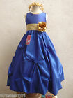 ROYAL BLUE GOLD BRIDESMAID PARTY FLOWER GIRL DRESS 2T/2 3 4 5 6X 6 7 8 10 12 14