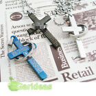 Men's Stainless Steel Bible Silver Black Cross Chain Ring Pendant Necklace 1 Pcs