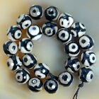 Faceted Black Spot Tibetan Mystical Old Agate Eye Beads 8,10,12,14mm Pick Size