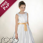 Girls White Dress with Champagne Gold Waistband for Wedding Flowergril Communion