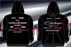 Dodge Challenger Hoodie Zip Jacket Embroidered Logos Black Sweatshirt NEW