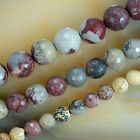 "Faceted Natural Japanese Artistic Stone Round Beads 15"" Pick Size 6,8,10mm"