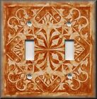 Light Switch Plate Cover - Home Decor - Tuscan Tile Pattern - Pumpkin Orange