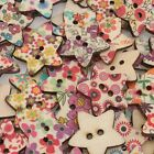 Wholesale Heart Star Shaped Painting Wooden Sewing Buttons Scrapbooking 2 Holes