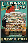 TX203 Vintage Cunard Line All Parts of The World Cruise Ship Travel Poster A2/A3