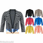 Waterfall Blazer Cropped 3/4 Sleeve Bolero Top Open Cardigan Womens Ladies 8-14