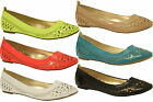 Ladies Flat Cut Out PVC Ballerinas Loafer Dolly Comfy Pump Ballet Slip On Shoes