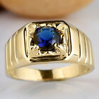Men's Gold Filled Finger Ring Round Solitaire Stone Size Selectable Quality Gift