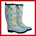 WOMENS FUN FUNKY FESTIVAL NEW YORK MAP BLUE WELLIES WELLINGTON RAIN BOOTS LADIES