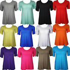 New Womens Ladies Plus Size Short Sleeve Plain Long Top 14 16 18 20 22 24 26 28