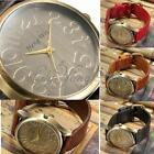 Women Retro Vintage Vintage Bronze Round Dial Leather Band Quartz Wrist Watch