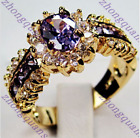 Size 7-11 Oval Cut Purple Amethyst Ring 10KT Yellow Gold Filled Wedding Jewelry