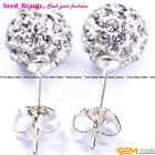 Pretty pave shining swarovski crystal ball silver plated stud earrings