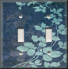 Light Switch Plate Cover - Floral Leaves - Blue - Modern Home Decor
