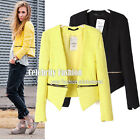 jk27 Celebrity Style Bright Yellow Tweed Zipper Collarless Cropped Jacket Blazer