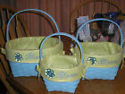 CELEBRATE IT INSPIRATION BLOOM BLUE YELLOW WOVEN STYLE EASTER BASKET  NWTS
